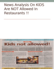 News Analysis On KIDS Are NOT Allowed In Restaurants