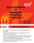 SERVICE MARKETING ON McDONALD'S FUN REPUBLIC COIMBATORE
