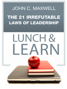 The 21 Irrefutable Laws of Leadership Lunch & Learn