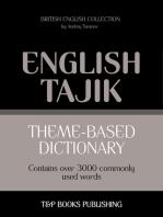 Theme-based dictionary: British English-Tajik - 3000 words