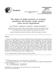Research Study on Impact of Quality Practices on Customer Satisfaction