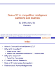 Role of IP in competitive Intelligence gathering and analysis