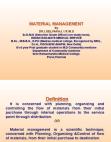 Basic Principles of Material Management