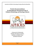 Practice Recommendations: Managing the Educational Needs of Pediatric Hematology & Oncology Patients