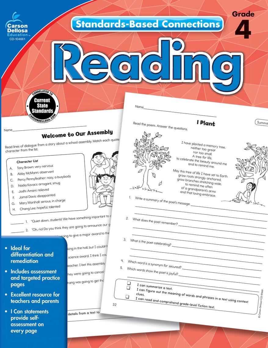 Read Reading, Grade 4 Online by Carson-Dellosa Publishing ...
