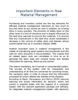 Important Elements in Raw Material Management