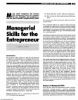 Study on Managerial Skills for the Entrepreneur