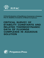 Critical Survey of Stability Constants and Related Thermodynamic Data of Fluoride Complexes in Aqueous Solution