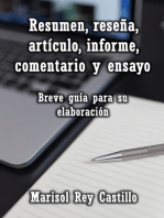 Resumen, reseña, artículo, informe, comentario y ensayo