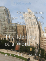 Comments on Roger Teichmann's Article (2016) The Identity of a Word