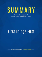 First Things First (Review and Analysis of Covey, Roger and Merrill's Book)
