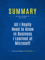 All I Really Need to Know in Business I Learned at Microsoft (Review and Analysis of Bick's Book)