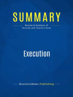 Execution (Review and Analysis of Bossidy and Charan's Book)