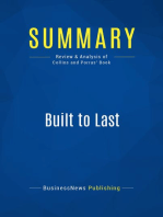Built to Last (Review and Analysis of Collins and Porras' Book)