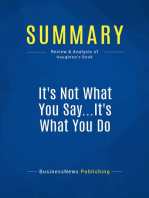 It's Not What You Say...It's What You Do (Review and Analysis of Haughton's Book)