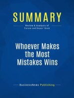 Whoever Makes the Most Mistakes Wins (Review and Analysis of Farson and Keyes' Book)