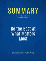 Be the Best at What Matters Most (Review and Analysis of Calloway's Book)