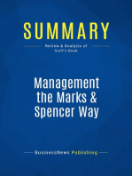 Management the Marks & Spencer Way (Review and Analysis of Sieff's Book)