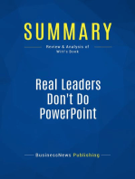 Real Leaders Don't Do PowerPoint (Review and Analysis of Witt's Book)