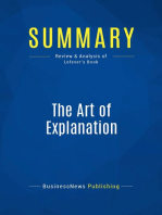 The Art of Explanation (Review and Analysis of Lefever's Book)