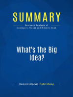 What's the Big Idea? (Review and Analysis of Davenport, Prusak and Wilson's Book)