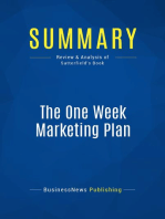 The One Week Marketing Plan (Review and Analysis of Satterfield's Book)