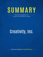 Creativity, Inc. (Review and Analysis of Catmull and Wallace's Book)