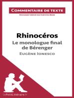 Rhinocéros de Ionesco - Le monologue final de Bérenger