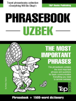 English-Uzbek phrasebook and 1500-word dictionary
