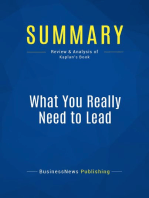 What You Really Need to Lead (Review and Analysis of Kaplan's Book)