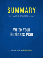 Write Your Business Plan (Review and Analysis of the Staff of Entrepreneur's Media's Book)