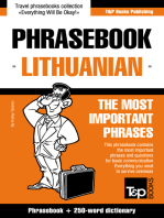 English-Lithuanian phrasebook and 250-word mini dictionary