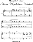 Minuet In a Minor Anna Magdalena Notebook - Easy Piano Sheet Music