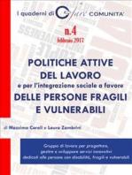 Politiche attive del lavoro e per l'integrazione sociale a favore delle persone fragili e vulnerabili