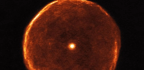 A Peek at the Glowing Red Shell Around an Aging Star