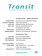Transit 38. Europäische Revue: Vereintes Europa – geteilte Geschichte