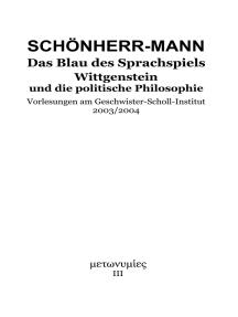 Das Blau des Sprachspiels: Wittgenstein und die politische Philosophie