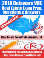 2018 Delaware VUE Real Estate Exam Prep Questions and Answers