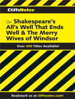 CliffsNotes on Shakespeare's All's Well That Ends Well & The Merry Wives of Windsor