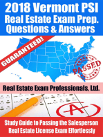 2018 Vermont PSI Real Estate Exam Prep Questions, Answers & Explanations