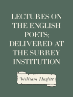 Lectures on the English Poets; Delivered at the Surrey Institution
