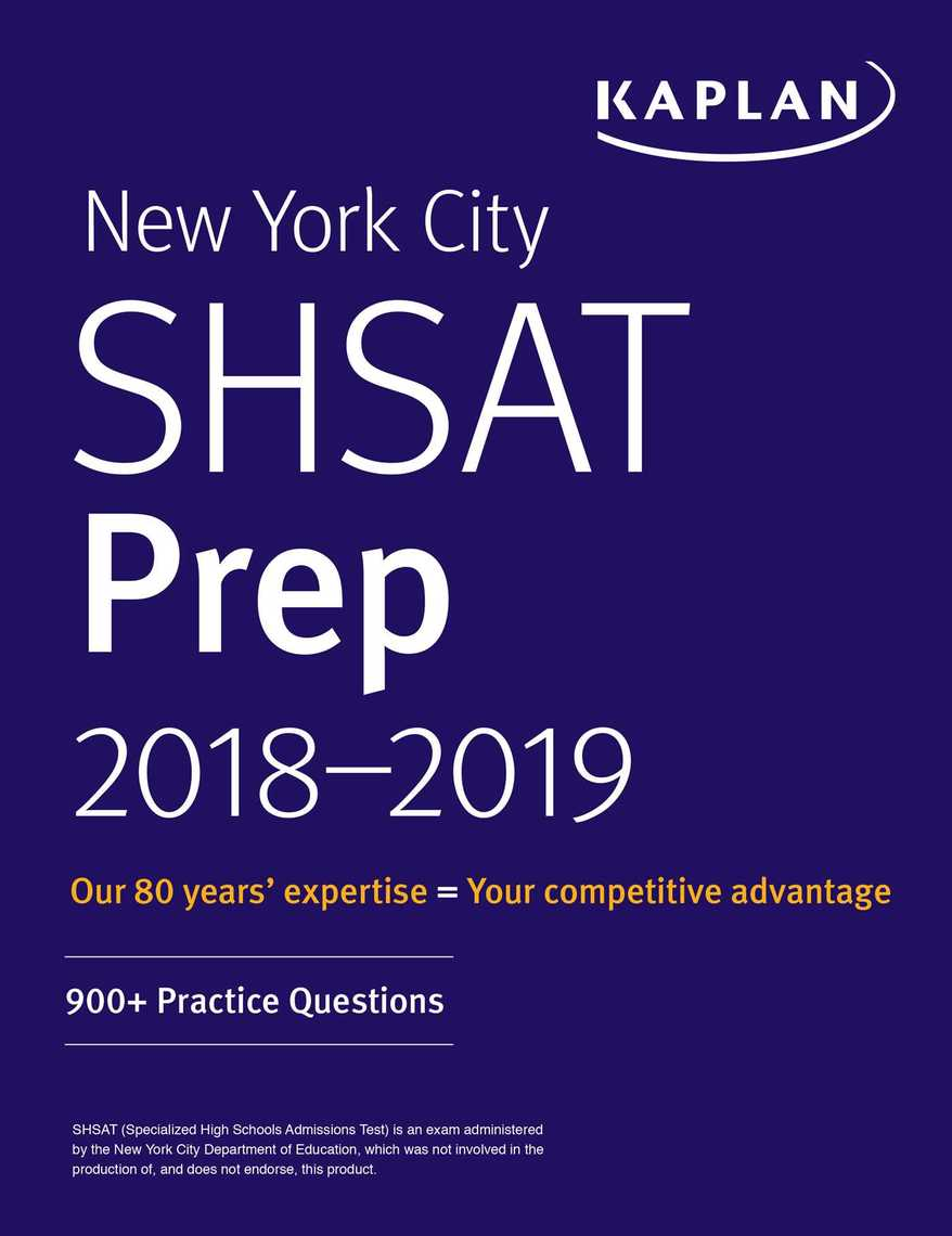 New York City SHSAT Prep 2018 2019 By Kaplan Test