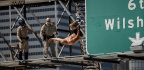 Man In Underwear Causes Massive Traffic Jam In Downtown LA After Scaling Traffic Sign