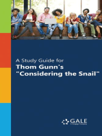 """A Study Guide for Thom Gunn's """"Considering the Snail"""""""