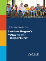 """A Study Guide for Louise Bogan's """"Words for Departure"""""""
