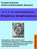 Simplicius Simplicissimus. Unterrichtsmodell und Unterrichtsvorbereitungen. Unterrichtsmaterial und komplette Stundenmodelle für den Deutschunterricht.