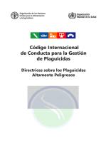 Código Internacional de Conducta para la Gestión de Plaguicidas. Directrices sobre los Plaguicidas Altamente Peligrosos