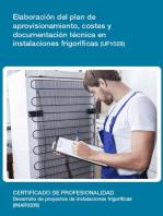 UF1029 - Elaboración del plan de aprovisionamiento, costes y documentación técnica en instalaciones frigoríficas