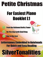 Petite Christmas Booklet L1 - For Beginner and Novice Pianists from the Hallowed Belfry Tower On This Day Earth Shall Ring Star of the East Letter Names Embedded In Noteheads for Quick and Easy Reading