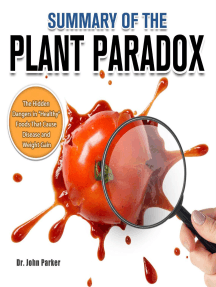 """Summary of The Plant Paradox:The Hidden Dangers in """"Healthy"""" Foods That Cause Disease and Weight Gain"""